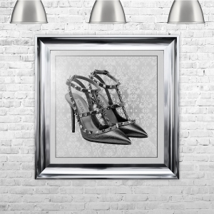 Milan Shoe White Framed Liquid Artwork with crushed glass and Swarovski Crystals