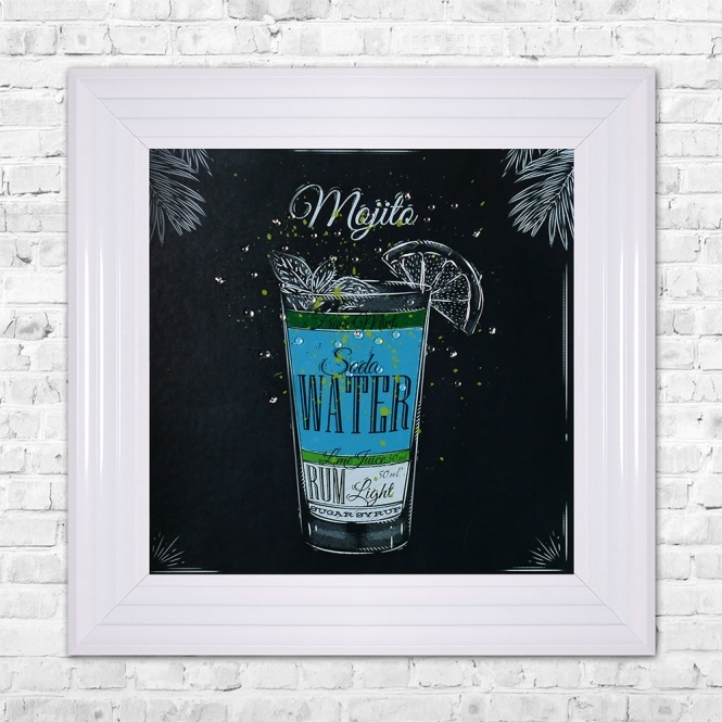 SHH Interiors MOJITO Print Framed Liquid Artwork and Swarovski Crystals