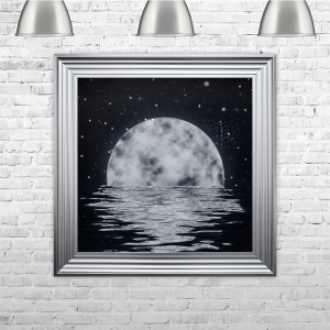 Moon Framed Liquid Artwork with crushed glass and Swarovski Crystals