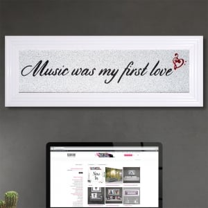 Music Was My First Love in Silver Glitter with Liquid Glass and Swarovski Crystals 112 x 40 cm