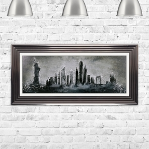 New York Sketch Framed Glitter Liquid Art Artwork 115cm x 55cm