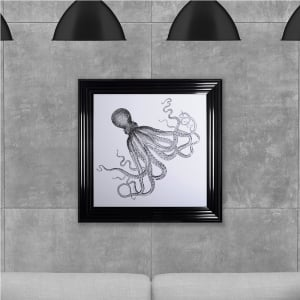 Octopus Print 2 Hand Made with Liquid Glass and Swarovski Crystals 75 x 75 cm