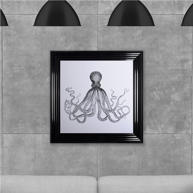 SHH Interiors Octopus Print Black Hand Made with Liquid Glass and Swarovski Crystals 75 x 75 cm