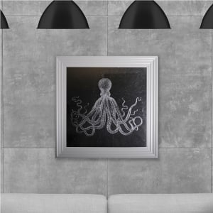 Octopus Print Hand Made with Liquid Glass and Swarovski Crystals 75 x 75 cm