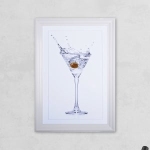 Olive Glass Print with Liquid Glass and Swarovski Crystals 48 x 68 cm