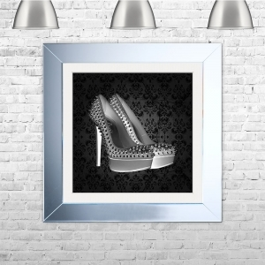 PARIS SHOE Black Framed Liquid Artwork and Swarovski Crystals