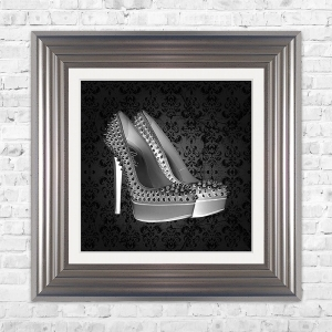 PARIS SHOE Black Print Framed Liquid Artwork and Swarovski Crystals