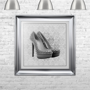 PARIS SHOE White Framed Liquid Artwork with crushed glass and Swarovski Crystals