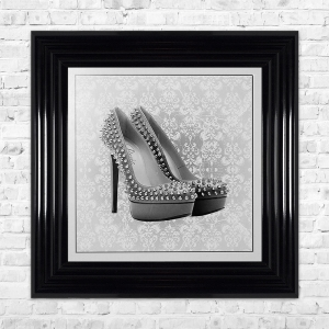 PARIS SHOE White Print Framed Liquid Artwork and Swarovski Crystals