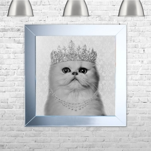 Persian Cat Framed Liquid Artwork and Swarovski Crystals