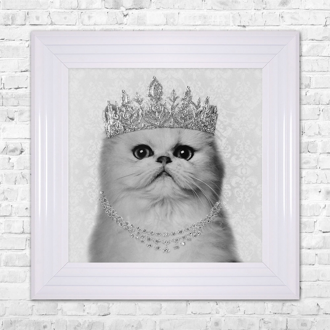 SHH Interiors PERSIAN Cat Framed Liquid Artwork and Swarovski Crystals