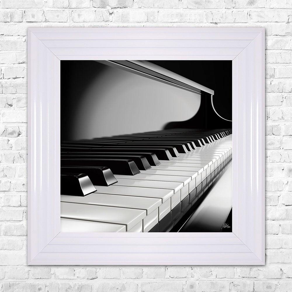 SHH Interiors PIANO Print Framed Artwork | 55cm x 55cm Black and ...