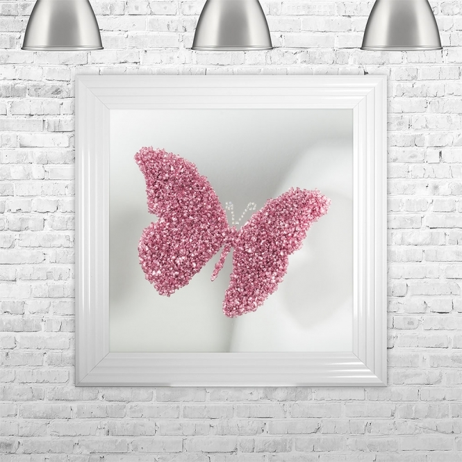 SHH Interiors PINK BUTTERFLY | MIRROR BACK | 75cm x 75cm Framed Liquid Artwork and Swarovski Crystals | 75cm x 75cm