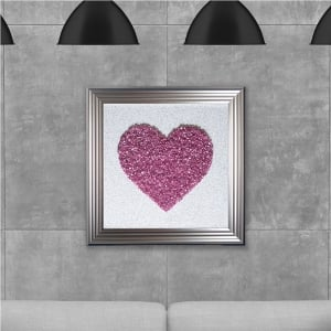 Pink Heart Cluster Hand Made with Liquid Glass and Swarovski Crystals 75 x 75 cm