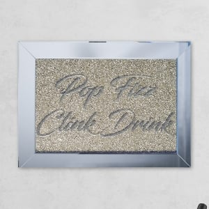 Pop Fizz Drink Clink Silver Gold Mirror with Liquid Glass and Swarovski Crystals 54 x 74 cm