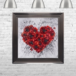 POPPY HEART Liquid Art with Crushed Glass Clusters | 75cm x 75cm