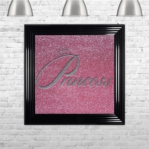 Princess in Silver Glitter Pink Glitter Background | 75cm x 75cm