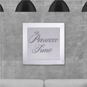 Prosecco Time in Silver Glitter Hand Made with Liquid Glass and Swarovski Crystals 75 x 75 cm