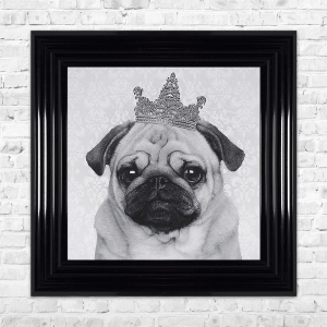 PUG Print Framed Liquid Artwork and Swarovski Crystals