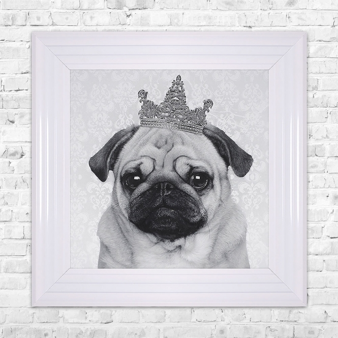SHH Interiors PUG With Crown Print Framed Liquid Artwork and Swarovski Crystals