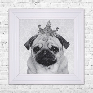 PUG With Crown Print Framed Liquid Artwork and Swarovski Crystals