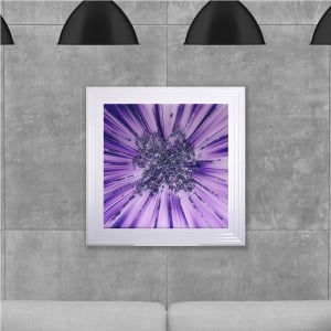 Purple Star Blast Hand Made with Liquid Glass and Swarovski Crystals 75 x 75 cm