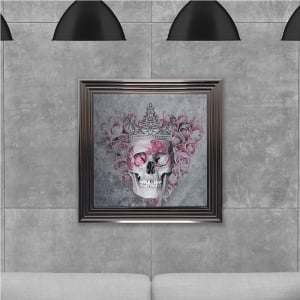 Queen Skull Print Hand Made with Liquid Glass and Swarovski Crystals 75 x 75 cm