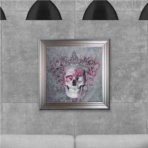 Queen Skull Print Hand Made with Liquid Glass and Swarovski Crystals 75 x 75 cm Summer Sale