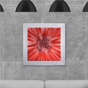 Red Star Blast Hand Made with Liquid Glass and Swarovski Crystals 75 x 75 cm