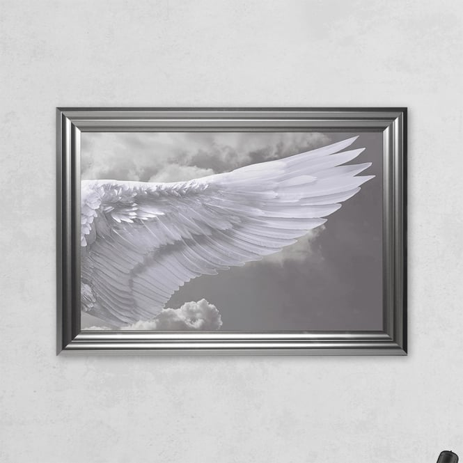 SHH Interiors Right Framed Angel Wing Print with Liquid Glass and Swarovski Crystals 48 x 68 cm