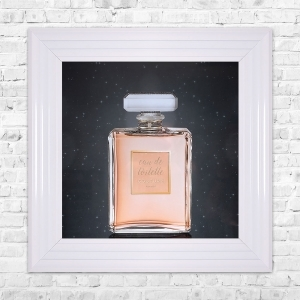 Rose Eau De Toilette Print Framed Liquid Artwork and Swarovski Crystals
