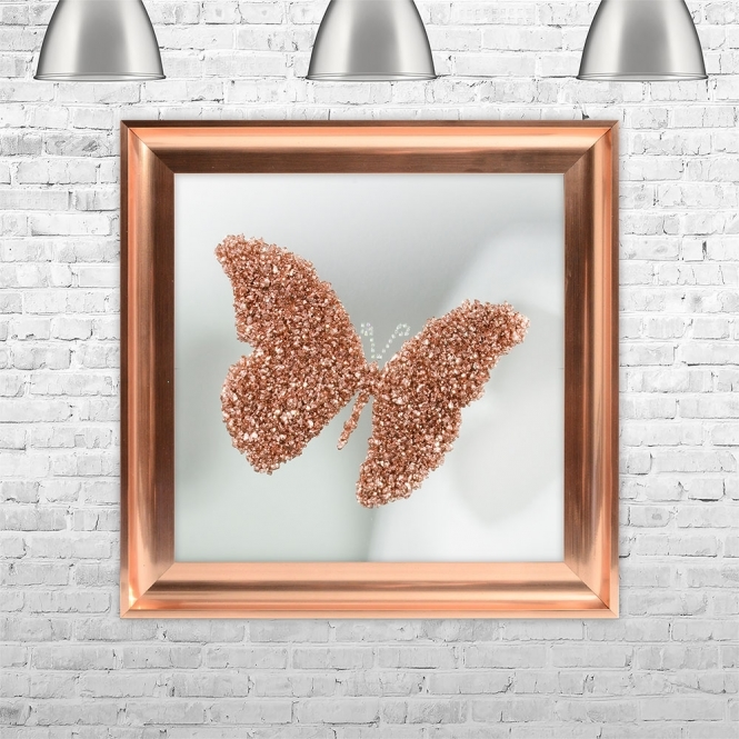 SHH Interiors ROSE GOLD BUTTERFLY | MIRROR BACK Framed Liquid Artwork and Swarovski Crystals | 75cm x 75cm