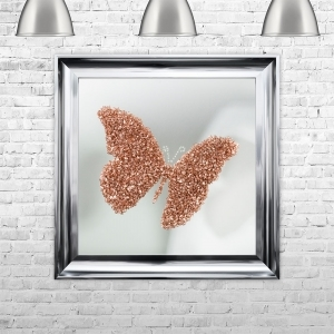 ROSE GOLD BUTTERFLY | MIRROR BACK Framed Liquid Artwork and Swarovski Crystals | 75cm x 75cm