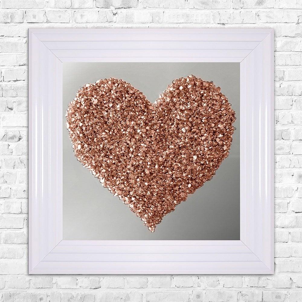 Rose gold heart cluster mirror wall art 55cm x 55cm
