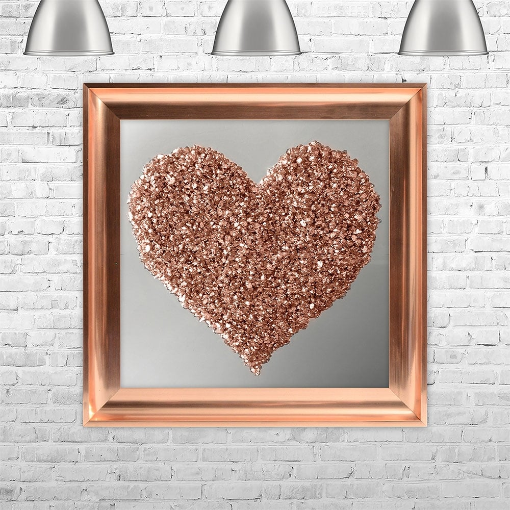 Rose gold heart mirror back framed liquid art with crushed glass 75cm x 75cm