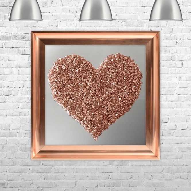 SHH Interiors ROSE GOLD HEART | MIRROR BACK Framed Liquid Artwork and Swarovski Crystals | 75cm x 75cm