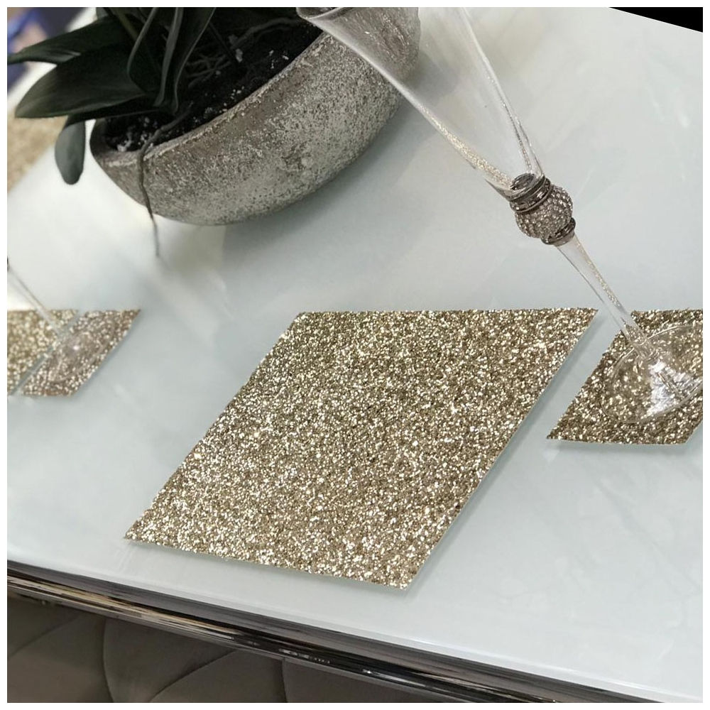 Set Of 4 Glitter Placemats In Champagne