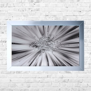 Silver Cluster Blast Framed Liquid Artwork and Glitter Crushed Glass