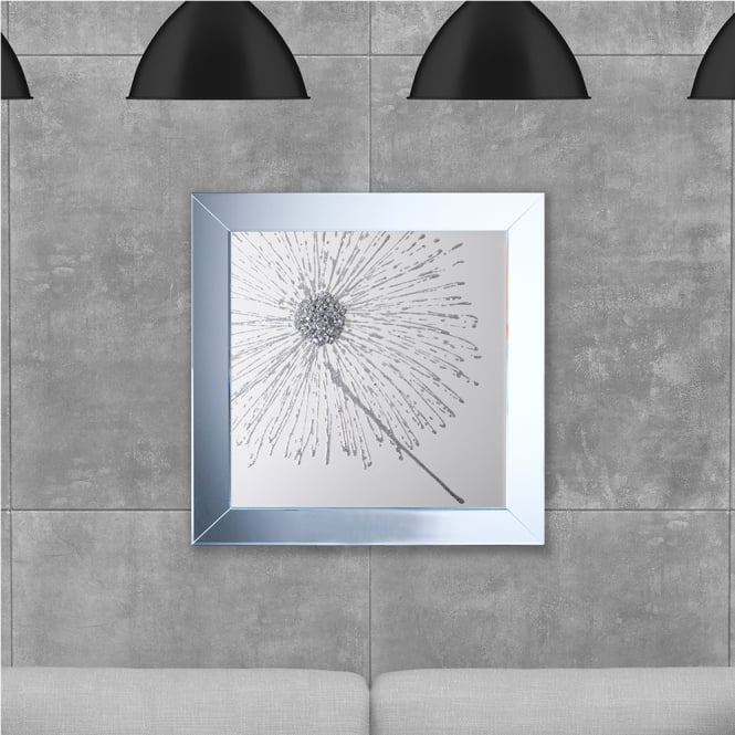 SHH Interiors Silver Dandelion White Background (Left) Made with Liquid Glass and Swarovski Crystals 75 x 75 cm