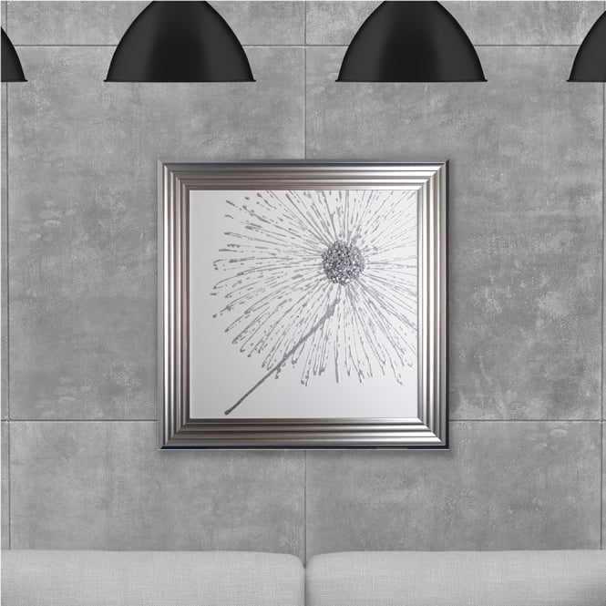 SHH Interiors Silver Dandelion White Background (Right) Made with Liquid Glass and Swarovski Crystals 75 x 75 cm