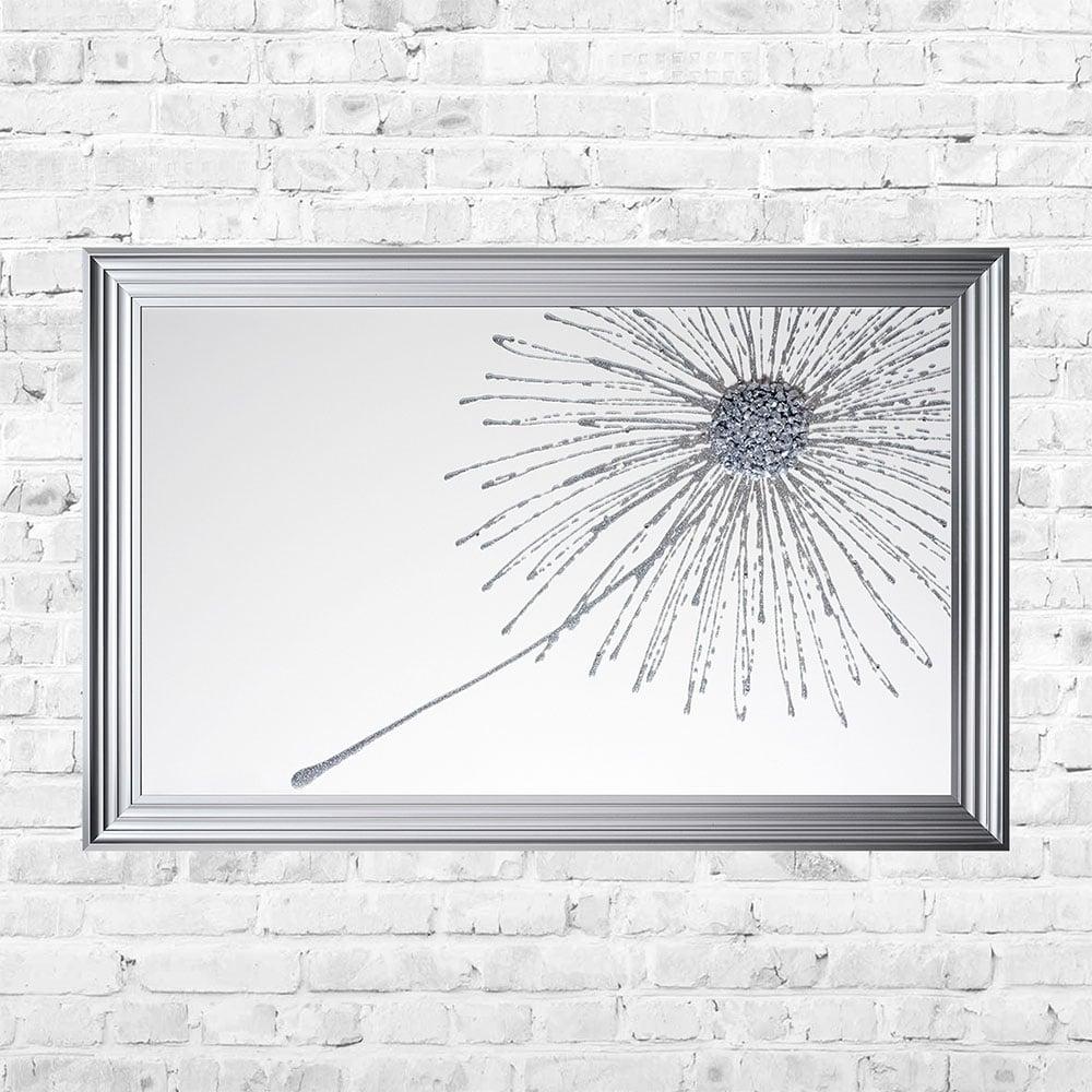 Silver Glitter Dandilion Cluster Framed Art | 114cm x 74cm