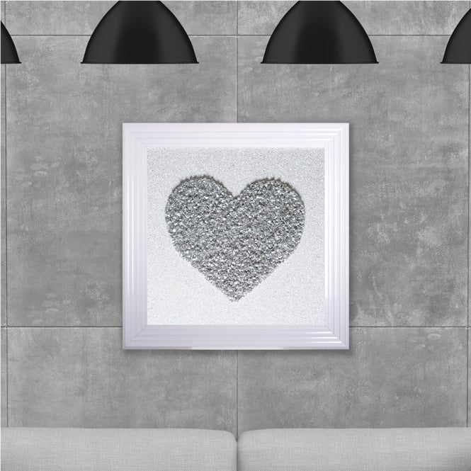 SHH Interiors Silver Heart Cluster Hand Made with Liquid Glass and Swarovski Crystals 75 x 75 cm