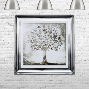 Silver Money Tree Framed Liquid Artwork and Swarovski Crystals