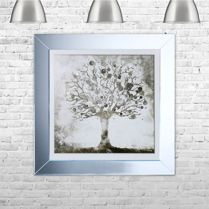 SHH Interiors Silver Money Tree Framed Liquid Artwork with Silver Coins