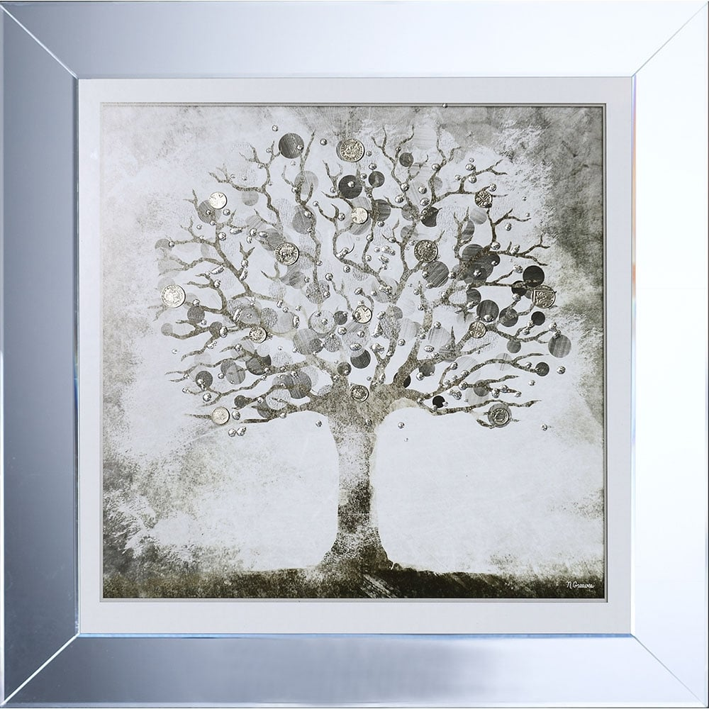 Silver Money Tree Framed Liquid Artwork with Silver Coins