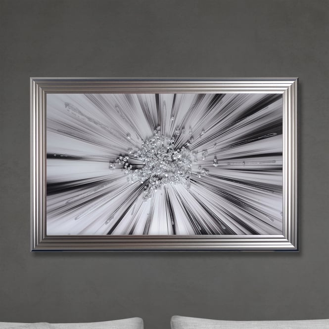 SHH Interiors Silver Star Blast Hand Made with Liquid Glass and Swarovski Crystals 114 x 74 cm