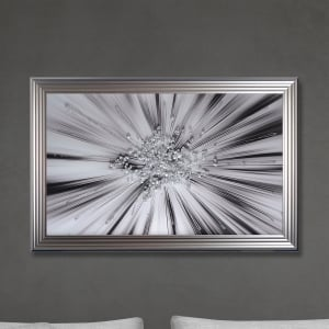 Silver Star Blast Hand Made with Liquid Glass and Swarovski Crystals 114 x 74 cm
