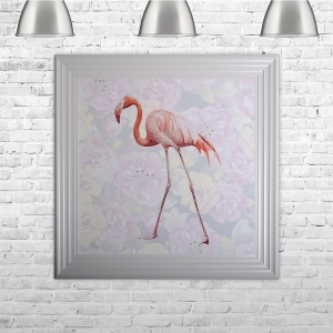 Single Flamingo Floral Background | 75cm x 75cm
