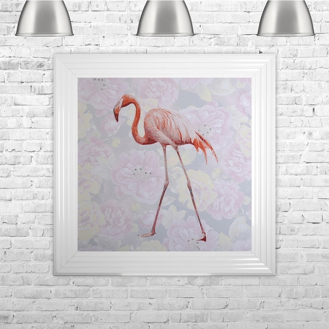 SHH Interiors Single Flamingo Floral Background Glitter Liquid Art With Swarovski Crystals | 75cm x 75cm