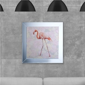 Single Flamingo Hand Made with Liquid Glass and Swarovski Crystals 75 x 75 cm